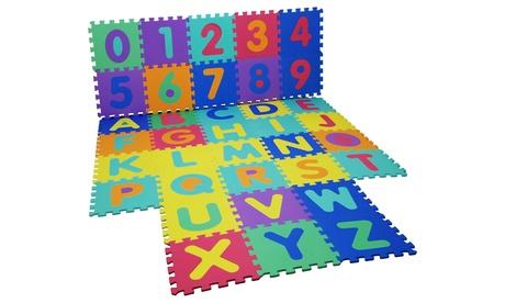 Tappeto da gioco per bambini a forma di puzzle con 36 pezzi ad incastro