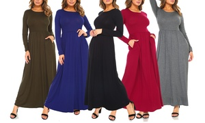 Isaac Liev Women's Ruched Maxi Dress. Plus Sizes Available.