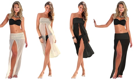 Vestido de playa de encaje 2 en 1
