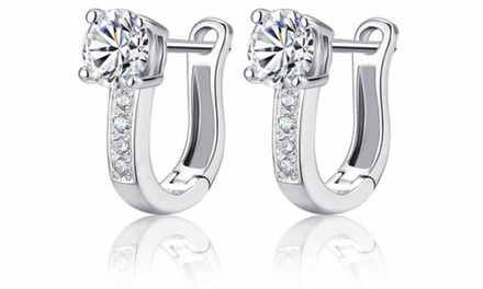 SilverPlated Hoop Earrings Made with Crystals from Swarovski® for £4.98