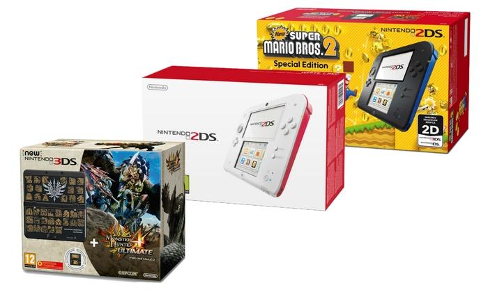Groupon Goods Global GmbH: Nintendo 3DS/2DS con S.M.Bros 2, Tomodachi Life o M.Hunter 4 Ultimate disponibili in vari colori con spedizione gratuita