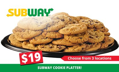 Cookie Platter ($19), or Sub or Wrap Platter ($35) at Subway, Three Locations (Up to $49 Value)