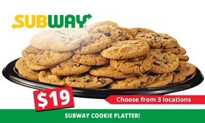 Subway: Cookie Platter ($19), or Sub or Wrap Platter ($35) at Subway, Three Locations (Up to $49 Value)