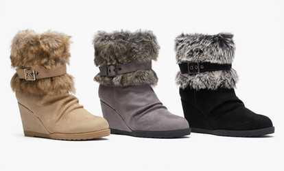 4faa499e576 Shop Groupon Sociology Women's Wedge Faux Fur Cuff Booties   (Sizes 10 ...