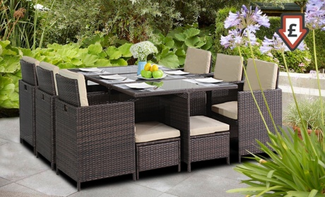 9  Or 11 Pc Cube Rattan Dining Sets