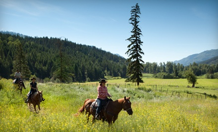 Groupon Deal: $589 for Two-Night All-Inclusive Horseback-Riding Vacation for Two at Tod Mountain Ranch ($980 Value)