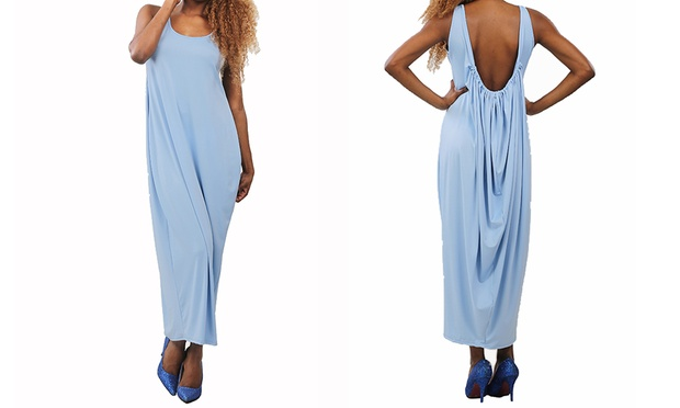 Shoulder Strap Draped Backless Casual Maxi Dress: One ($15) or Two ($25)