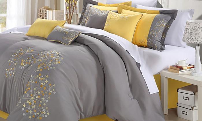 Jasmina Bed-in-a-Bag Embroidered Comforter Set (8- Or 12