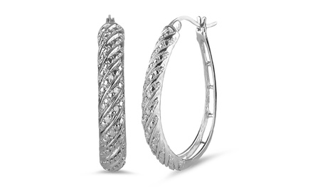 0.07 CTW Diamond Accent Hoop Earrings in Sterling Silver