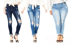 fc5cb9130d Women's Bloomrocks Destructed Skinny Jeans. Plus Size Available.