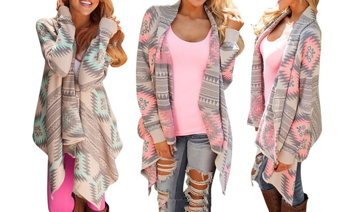 Aztec Print Waterfall Cardigan | Groupon Goods