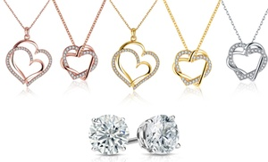Heart Necklace Collection in 18K Gold Plated Made with Swarovski Crystal by Rubique Jewelry