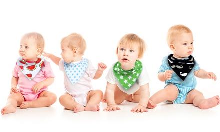 Pack de 4, 8 ou 12 bavoirs bandana Hipster pour bébé 100% coton (SaintEtienne)