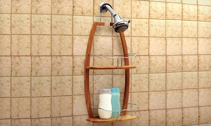 2-Tier Bamboo Shower Caddy | Groupon Goods