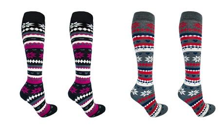 Hasta 8 pares de calcetines altos térmicos de algodón para mujer con diseño fair isle Oferta en Groupon