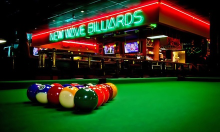 $24 for Two Hours of Pool for Up to Four with Food and Beer at New Wave Billiards ($40.99 Value)