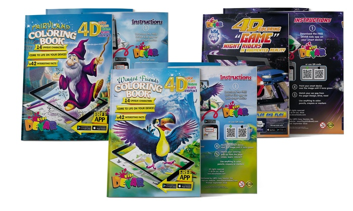4D Augmented Reality Kids Coloring Book Bundle