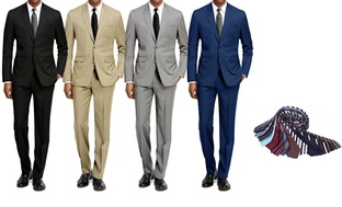 Braveman Men's 2-Piece Slim-Fit Suit with Tie