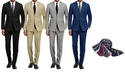 Braveman Men's 2-Piece Slim-Fit Suit with Tie
