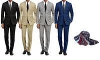 Braveman Men's 2-Piece Slim-Fit Suit with Tie (Various Colors and Sizes)