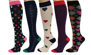 Rexx Women's Patterned Knee-High Compression Socks (3 or 5-Pairs)