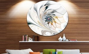 Floral Stained Glass Wall Art on Metal Circle