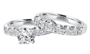 1 CTTW Pave Diamond Ring Set in 14K White Gold by Bliss Diamond
