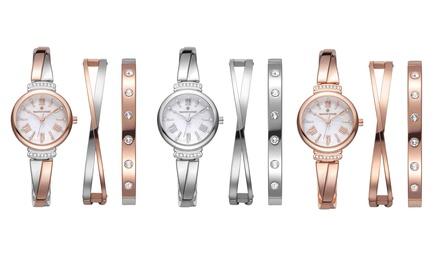 Set van 2 armbanden en een horloge met Swarovski® kristallen, inclusief verzending