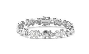 Diamond Accent Elephant Bracelet in 18K White Gold Plating