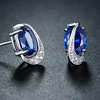 2.77 CTTW Blue Sapphire and Cubic Zirconia Stud Earrings