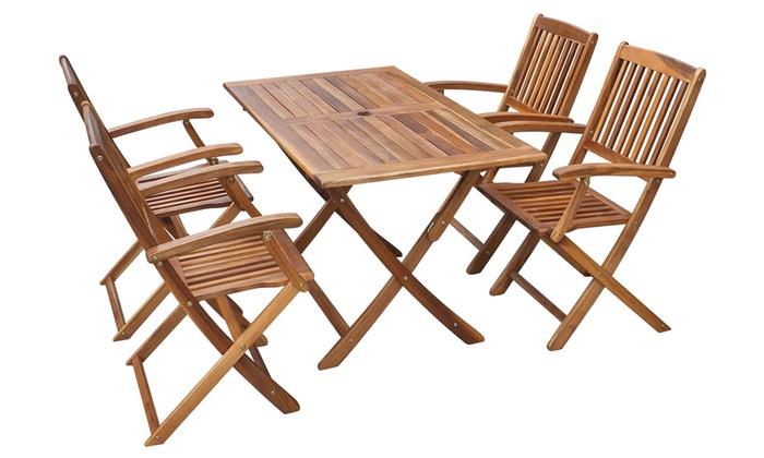 Tavolo e sedie da esterno in legno groupon for Tavolo in legno pieghevole