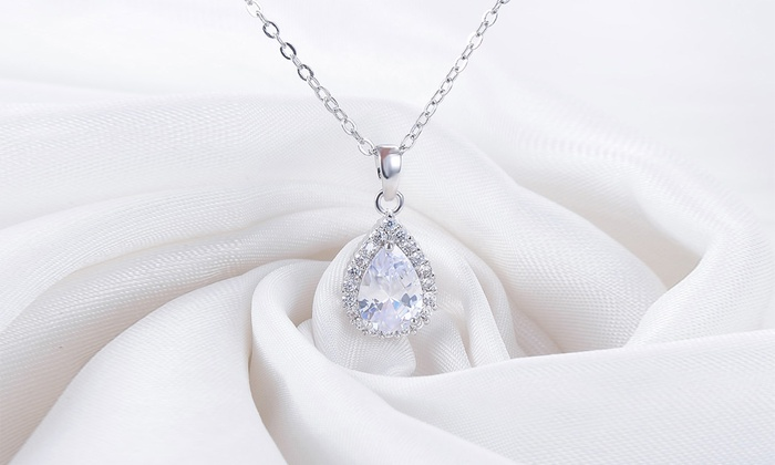 18K White Gold Plated Diamond Cut Necklace Made with Swarovski Elements