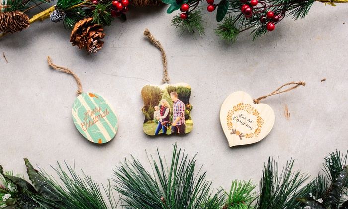 1 2 3 5 or 10 personalized wooden photo ornaments from photobarn up to 75 off