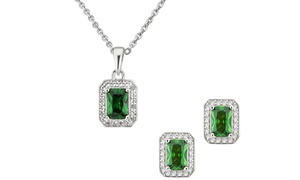 Emerald and Sapphire Pendant and Earring Set or Separates by L'Artiste