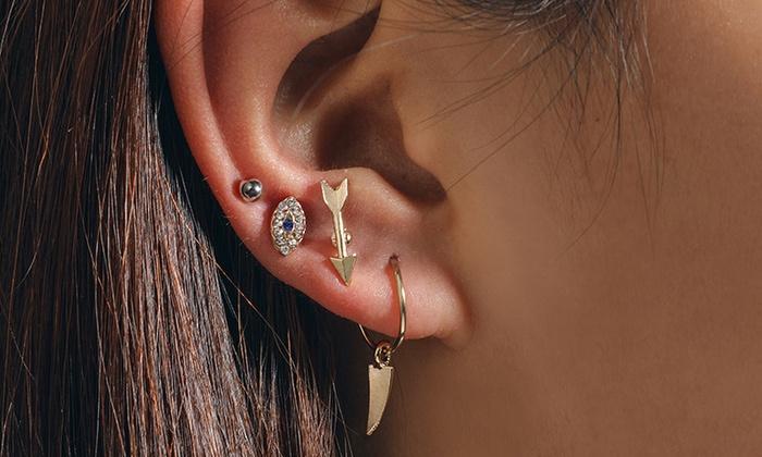 Set Of Four Arrow Pull Through Earrings