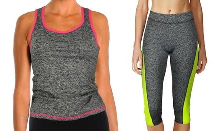 Camiseta y leggings deportivos para mujer adecuados para gimnasio