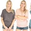 Lyss Loo Women's Contemporary Dolman Burnout Tunic Top
