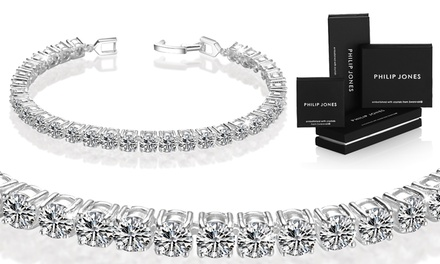 One or Two Philip Jones Round Tennis Bracelets with Crystals from Swarovski