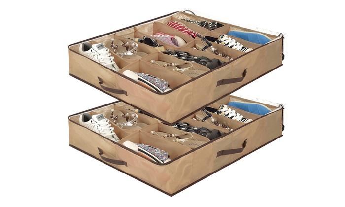 2 coffres de rangement chaussures   Groupon