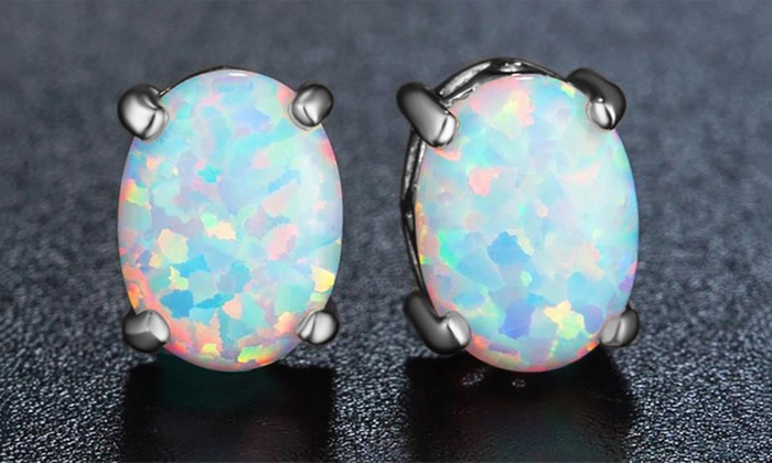 2 00 Cttw White Ethiopian Opal Sterling Silver Studs By Valencia Gems