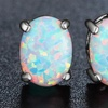 2.00 CTTW White Ethiopian Opal Sterling Silver Studs by Valencia Gems