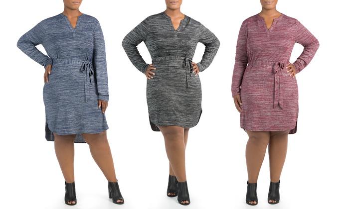 Sociology Women's Space-Dye Split-Neck Shirtdress in Plus Sizes | Groupon Exclusive