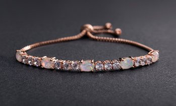 Fiery Opal Tennis Bracelet Made with Swarovski Elements