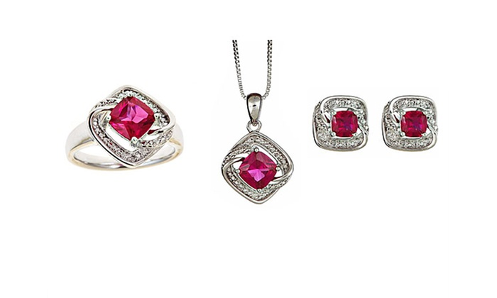 3-Piece Gemstone-and-Diamond Accent Jewelry Sets: 3-Piece Gemstone-and-Diamond Accent Jewelry Sets. Multiple Stones Available. Free Shipping and Returns.