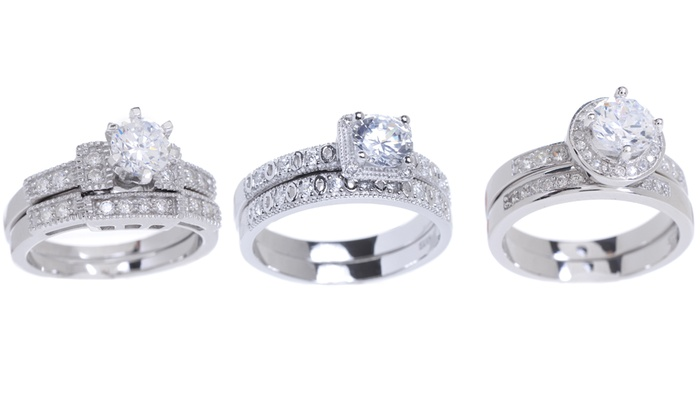 Cubic Zirconia Bridal Ring Sets In 18k White Gold Over Sterling Silver