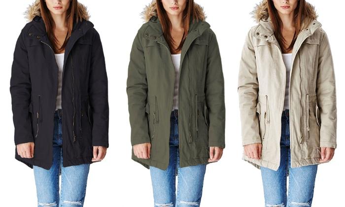Faux-Fur Trimmed Women's Parka-Style Jacket