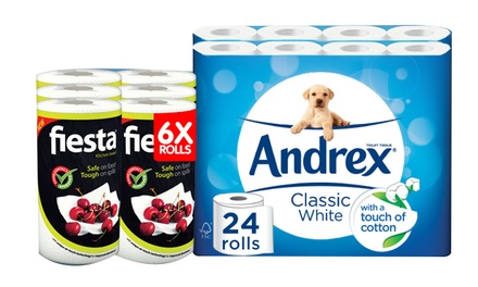 24, 48 or 96 Rolls of Andrex Classic White Toilet Paper with Option Rolls of Fiesta White Kitchen Towel