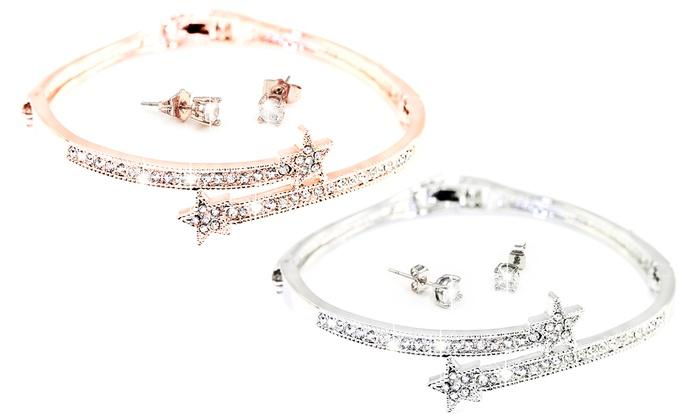 Groupon Goods Global GmbH: 1 ou 2 parures Ophelia avec cristaux, composée d'un bracelet et d'une paire de boucles d'oreilles