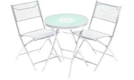 Set Daniela composta da tavolino con LED incorporato e 2 sedie