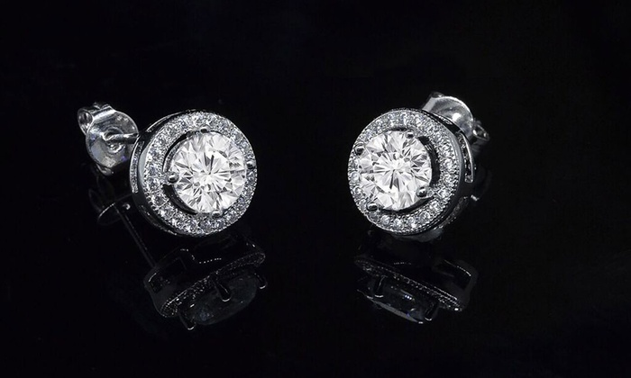 Swarovski Elements Round Halo Stud Earrings In 18k White Gold Plated